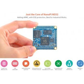 برد چهار هسته ای 64 بیتی NanoPi NEO Core2 دارای 512MB RAM