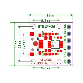 ماژول مبدل USB به TTL شش پین CH340E دارای ارتباط میکرو USB