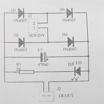 ماژول یکسو ساز تمام موج AC به DC دارای پل دیود و صافی خازنی
