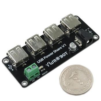 ماژول منبع تغذیه 5 ولت دارای ورودی جک آداپتوری / ترمینال و 4 خروجی USB