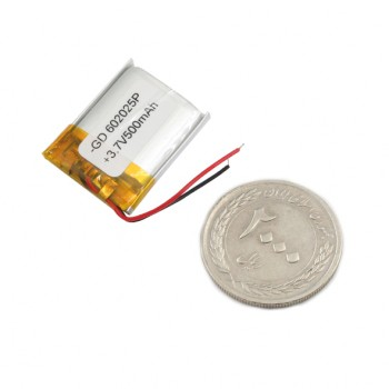 باتری لیتیومی تک سل 3.7V 500mAh دارای برد محافظ