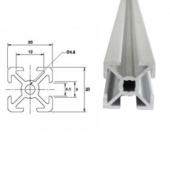 پروفیل آلومینیومی شیاردار مهندسی 20X20 به طول 100 سانتی متر