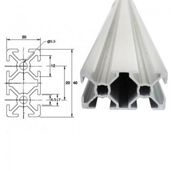 پروفیل آلومینیومی شیاردار مهندسی  20X40 به طول 100 سانتی متر