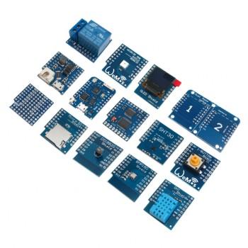 کیت 15 قطعه ای WeMos D1 Mini دارای هسته وایفای ESP8266 ، سنسور ، محرک ، نمایشگر و ...