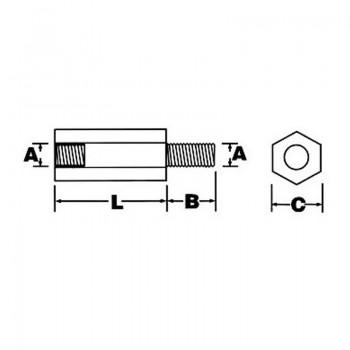 بسته 5تایی اسپیسر پلاستیکی M3 نری مادگی به طول 15mm