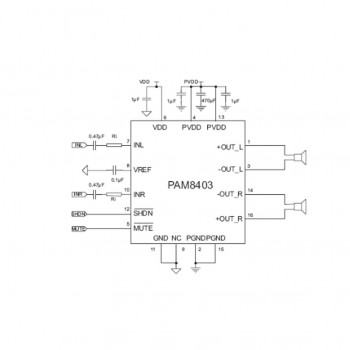 بسته 2 تایی آی سی آمپلی فایر صوتی PAM8403 دارای پکیج SOP16