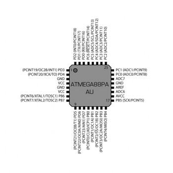 میکرو کنترلر ATMEGA88PA-AU دارای پکیج TQFP32