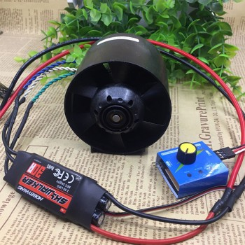 ست کامل موتور براشلس DC ( داکت فن ) پلاستیکی و درایور 30A با قابلیت تنظیم سرعت