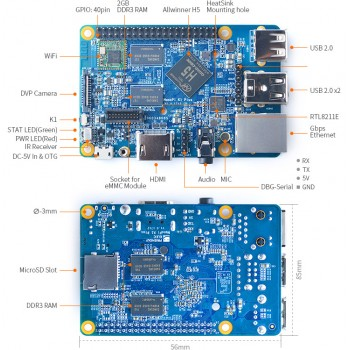 برد چهار هسته ای 64 بیتی NanoPi K1 Plus دارای 2GB RAM و وایفای داخلی