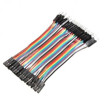 بسته 20 تایی سیم bread board نری به مادگی 10 سانتی متری ( Dupont Wire )