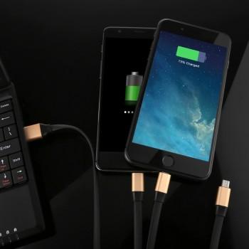 کابل شارژر 120سانتی متری دارای سه پورت میکرو USB ، آیفون و Type C