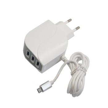 آداپتور و شارژر 5 ولت 2.5 آمپر دیواری دارای سه خروجی USB و یک خروجی میکرو USB