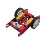 شاسی ربات 2 موتوره آلومینیومی به همراه موتور گیربکس دار و چرخ ( رنگ قرمز)