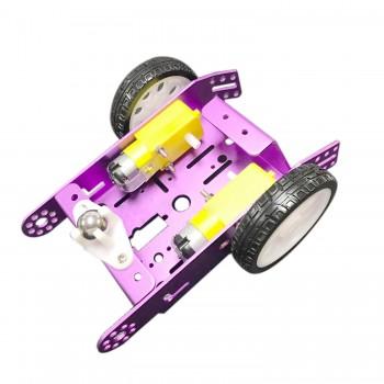شاسی ربات 2 موتوره آلومینیومی به همراه موتور گیربکس دار و چرخ ( رنگ آبی )