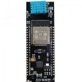 ماژول مانیتورینگ دما و رطوبت هوا و خاک دارای هسته وایفای ESP32 دارای سوکت باتری 18650
