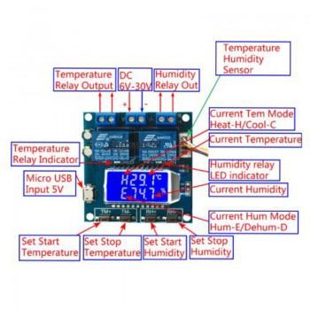 ماژول نمایشگر و کنترلر دما و رطوبت دیجیتال مدل XY-TR01