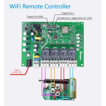 سوئیچ 4 کاناله Pro R2 با قابلیت کنترل از طریق وایفای / ریموت 433MHz محصول Itead