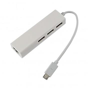 هاب 3 پورت تبدیل میکرو OTG USB همراه با پورت RJ45
