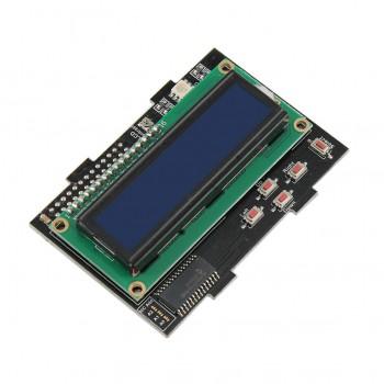 شیلد نمایشگر LCD کاراکتری 1602 دارای کلیدهای کنترلی و RGB LED مناسب برای بردهای رسپبری پای