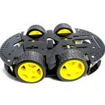 شاسی ربات 4 موتوره به همراه موتور گیربکس دار 1:50و چرخ
