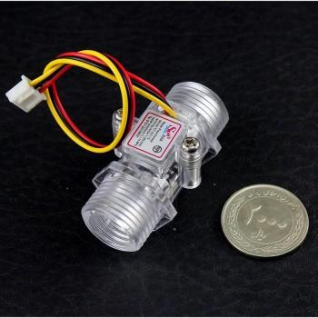 سنسور جریان آب اثر هال YF-201C دارای بدنه شفاف