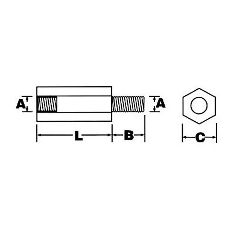 اسپیسر پلاستیکی M3 نری مادگی به طول 20mm بسته 5 عددی